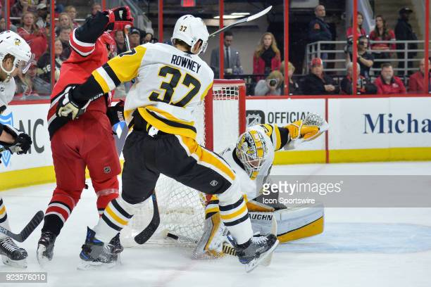 Pittsburgh Penguins Goalie Matt Murray makes a save on a shot by Carolina Hurricanes Left Wing Sebastian Aho during a game between the Pittsburgh...