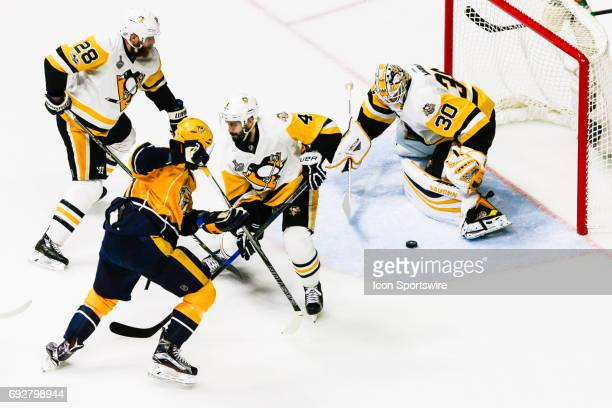 Pittsburgh Penguins goalie Matt Murray prepares to make save during game 4 of the 2017 NHL Stanley Cup Finals between the Pittsburgh Penguins and...