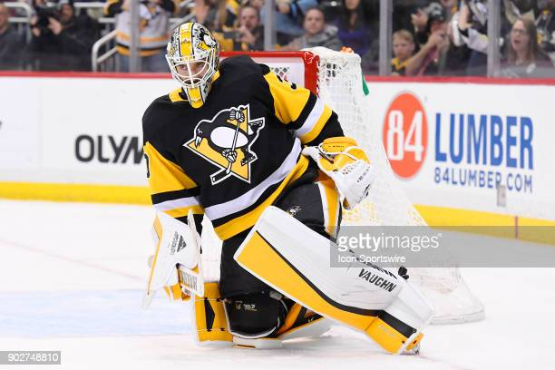 Pittsburgh Penguins Goalie Matt Murray reacts after stopping Boston Bruins Left Wing Brad Marchand on a penalty shot during the third period in the...