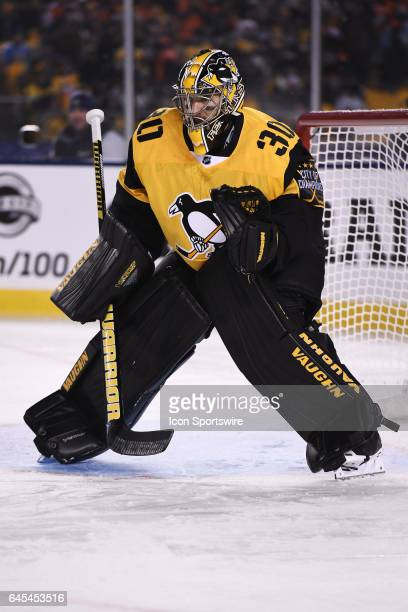 Pittsburgh Penguins Goalie Matt Murray tends net during the third period in the 2017 Coors Light NHL Stadium Series game between the Pittsburgh...