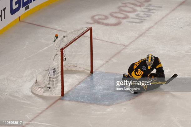 Pittsburgh Penguins Goalie Matt Murray watches the game winning goal go into the net during the Stadium Series game between the Pittsburg Penguins...