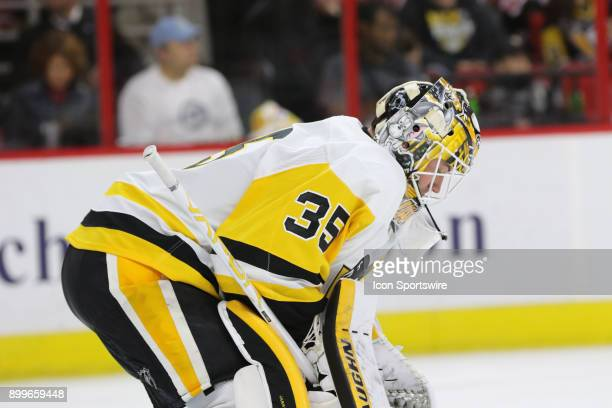 Pittsburgh Penguins Goalie Tristan Jarry during the 1st period of the Carolina Hurricanes game versus the Pittsburgh Penguins on December 29 at PNC...