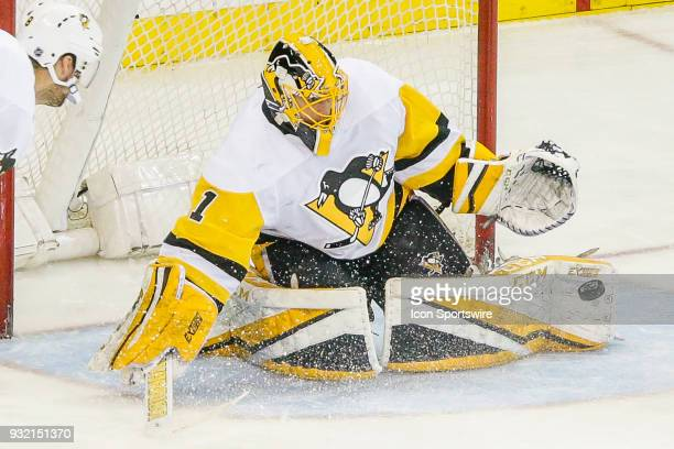 Pittsburgh Penguins goaltender Casey DeSmith makes save during the Pittsburgh Penguins and New York Rangers NHL game on March 14 at Madison Square...