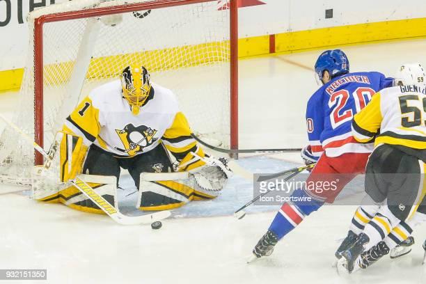Pittsburgh Penguins goaltender Casey DeSmith makes save on shot by New York Rangers left wing Chris Kreider during the Pittsburgh Penguins and New...
