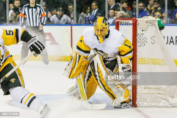 Pittsburgh Penguins goaltender Casey DeSmith tracks play during the Pittsburgh Penguins and New York Rangers NHL game on March 14 at Madison Square...