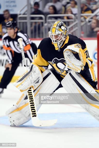 Pittsburgh Penguins Goaltender Matt Murray tends net during the first period in the NHL preseason game between the Pittsburgh Penguins and the...