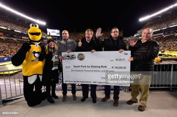 Pittsburgh Penguins mascot IceBurgh Heidi Browning EVP CMO NHL Bryan Iams VP Corporate and Government Affairs PPG Paints Rich Fitzgerald County...