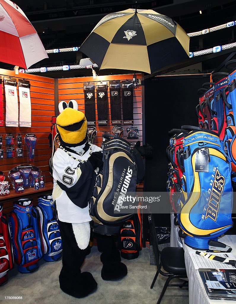 Pittsburgh Penguins mascot Iceburgh poses with some gold gear during 2013 NHL Exchange the annual NHL Licensed Products forum at the Consol Energy Center on July 30, 2013 in Pittsburgh, Pennsylvania.