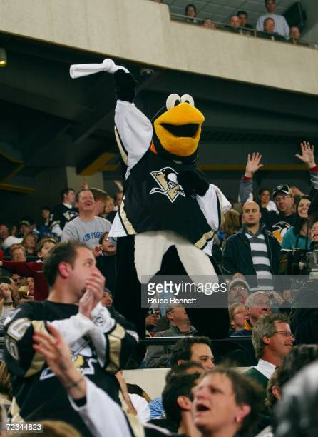 Pittsburgh Penguins mascot Iceburgh waves a white towel in the stands during the game against the New Jersey Devils on October 24 2006 at the Mellon...