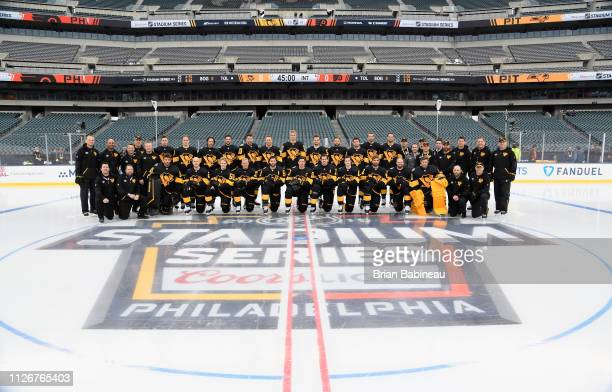 Pittsburgh Penguins pose for their team picture before they take practice ahead of the 2019 Coors Light NHL Stadium Series game against the...