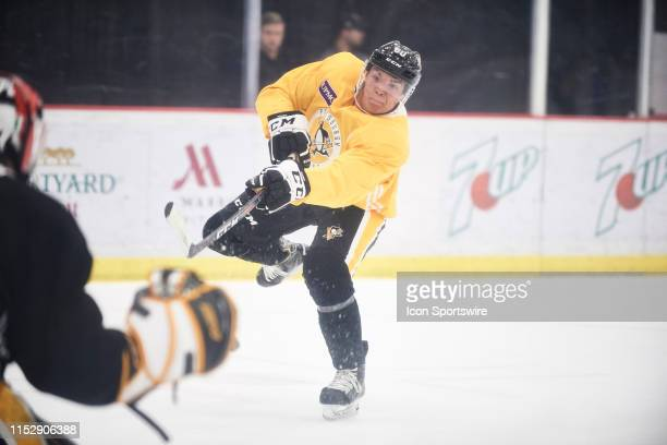 Pittsburgh Penguins Prospect Defenseman Liam Ross during the Pittsburgh Penguins development camp on June 26, 2019 at the UPMC Lemieux Sports Complex...