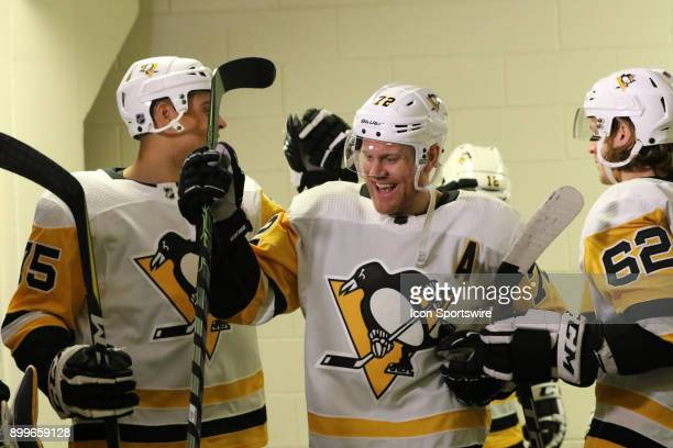 Pittsburgh Penguins Right Wing Patric Hornqvist getting high fives before the 1st period of the Carolina Hurricanes game versus the Pittsburgh...