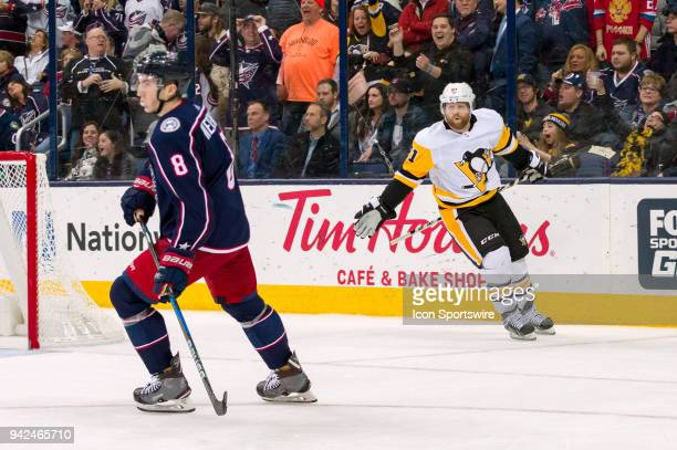 Pittsburgh Penguins right wing Phil Kessel celebrates after scoring the game winning goal in overtime of a game between the Columbus Blue Jackets and...