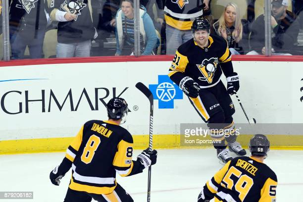 Pittsburgh Penguins Right Wing Phil Kessel celebrates his goal during the second period in the NHL game between the Pittsburgh Penguins and the Tampa...