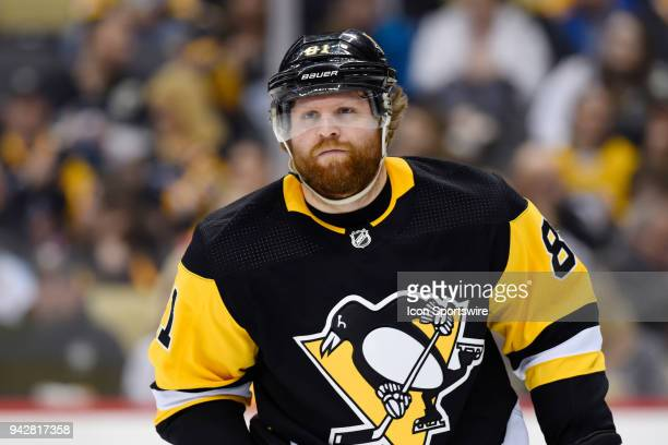 Pittsburgh Penguins Right Wing Phil Kessel looks on during the third period in the NHL game between the Pittsburgh Penguins and the Ottawa Senators...