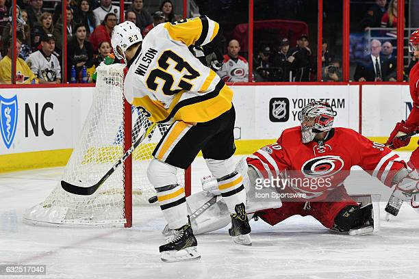 Pittsburgh Penguins Right Wing Scott Wilson is unable to score on an net left open by Carolina Hurricanes Goalie Cam Ward in a regular season NHL...