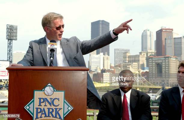 Pittsburgh Pirate owner Kevin McClatchy with Pirate Coach Lloyd McClendon and Pirate GM Dave Littlefield to his left at the 2006 AllStar press...