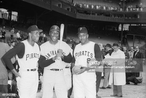 Pittsburgh Pirates baseball player Donn Clendenon, San Francisco Giants Willie McCovey, and Pirates Willie Stargell, posed on Forbes Field for 1965...