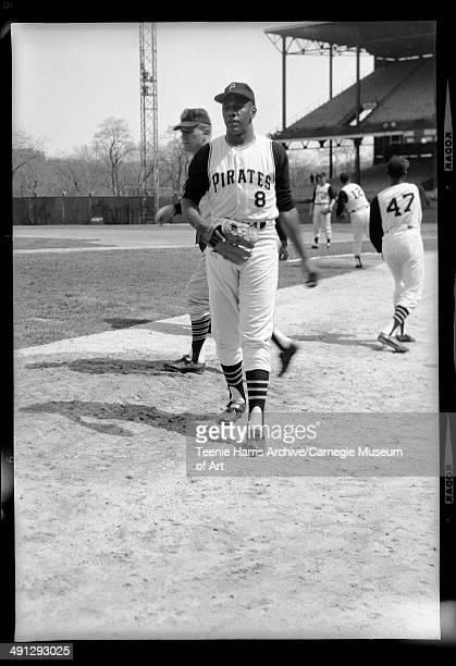 Pittsburgh Pirates baseball player no 8 Willie Stargell with no 47 Mudcat Grant and no 12 Jerry May in background at Forbes field Pittsburgh...