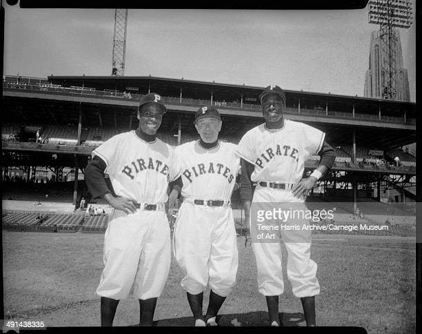 Pittsburgh Pirates baseball players Curtis 'Curt' Roberts manager Fred Haney and Sam Jethroe at Forbes Field Pittsburgh Pennsylvania April 1954