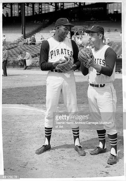 Pittsburgh Pirates baseball players Donn Clendenon and no 9 Bill Mazeroski at Forbes Field Pittsburgh Pennsylvania circa 19641968