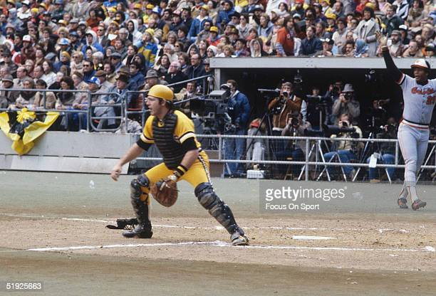 Pittsburgh Pirates' catcher Ed Ott waits for the throw at home plate during the World Series against the Baltimore Orioles at Three Rivers Stadium in...