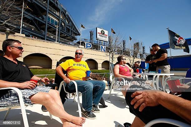 Pittsburgh Pirates fans tailgate on their boat JAWS docked along the Allegheny River in front of PNC Park prior to the Opening Day game between the...
