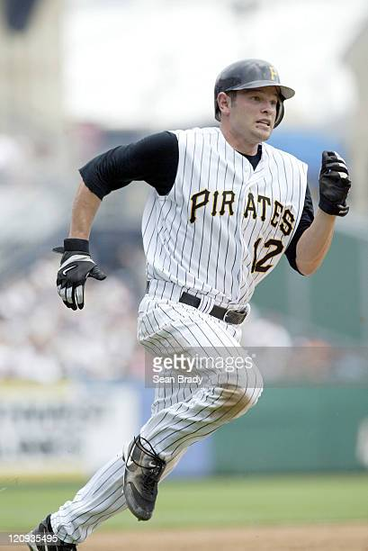 Pittsburgh Pirates Freddy Sanchez heads for home during action against the Atlanta Braves on June 5 2005 at PNC Park in Pittsburgh Pennsylvania