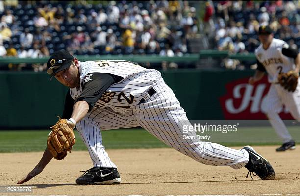 Pittsburgh Pirates Freddy Sanchez makes a backhanded grab during action against the Washington Nationals at PNC Park in Pittsburgh Pennsylvania on...