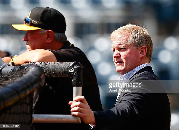 Pittsburgh Pirates GM Neal Huntington and manager Clint Hurdle watch batting practice prior to the home opener against the Detroit Tigers at PNC Park...