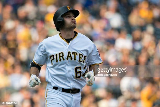 Pittsburgh Pirates Infield Max Moroff watches a home run hit during the game between the Chicago Cubs and the Pittsburgh Pirates on September 4 2017...