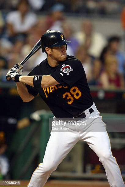 Pittsburgh Pirates Jason Bay in action against the Milwaukee Brewers on July 2 2004 at PNC Park in Pittsburgh Pennsylvania