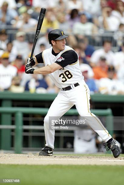 Pittsburgh Pirates Jason Bay in action against the Milwaukee Brewers on September 21 2003 at PNC Park in Pittsburgh Pennsylvania
