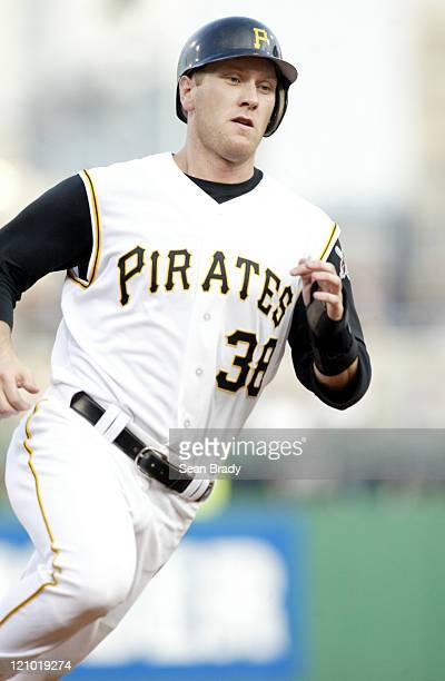 Pittsburgh Pirates Jason Bay rounds third during action against the Baltimore Orioles on June 8 2005 at PNC Park in Pittsburgh Pennsylvania