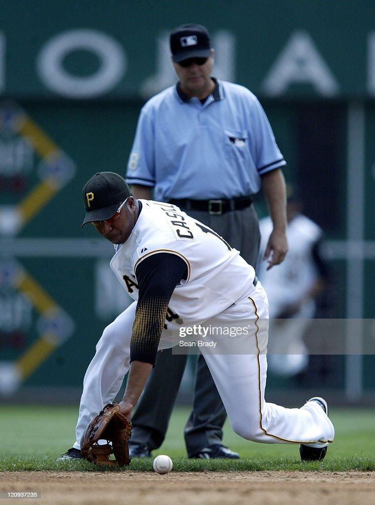 Pittsburgh Pirates Jose Castillo fields a ground ball during action against Atlanta at PNC Park in Pittsburgh, Pennsylvania on August 3, 2006.