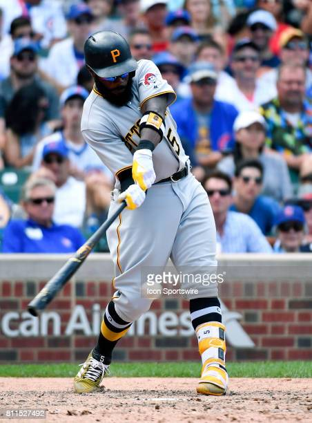 Pittsburgh Pirates left fielder Josh Harrison hits the ball for a single during the game between the Pittsburg Pirates and the Chicago Cubs on July 9...
