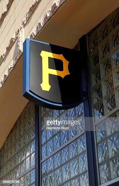 Pittsburgh Pirates logo outside PNC Park, home of the Pittsburgh Pirates baseball team in Pittsburgh, Pennsylvania on August 25, 2016.