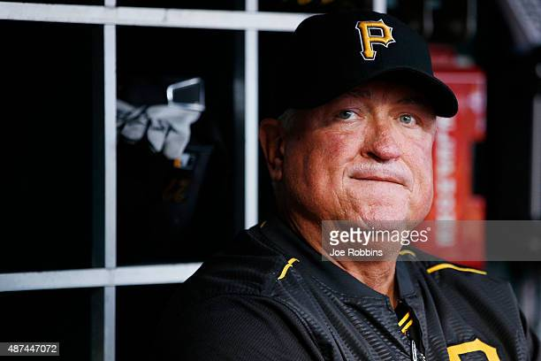Pittsburgh Pirates manager Clint Hurdle looks on in the first inning against the Cincinnati Reds at Great American Ball Park on September 9 2015 in...