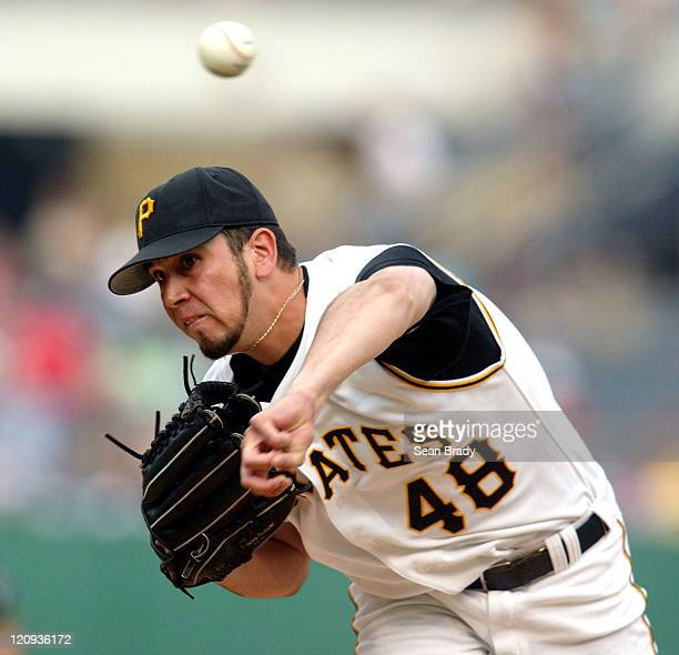 Pittsburgh Pirates' Oliver Perez at pitches during a game against the Milwaukee Brewers at PNC Park in Pittsburgh Pennsylvania on July 2 2004