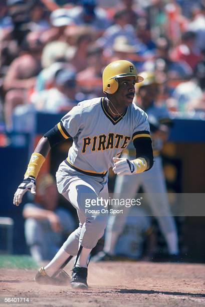 Pittsburgh Pirates' outfielder Barry Bonds connects with the ball and runs for first during a game at Three Rivers Stadium circa 1986 in Pittsburgh...