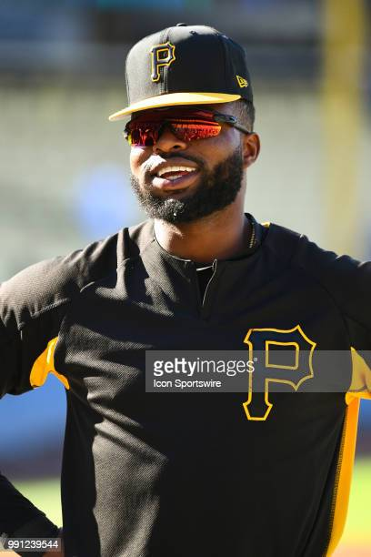 Pittsburgh Pirates outfielder Gregory Polanco looks on during batting practice before a MLB game between the Pittsburgh Pirates and the Los Angeles...