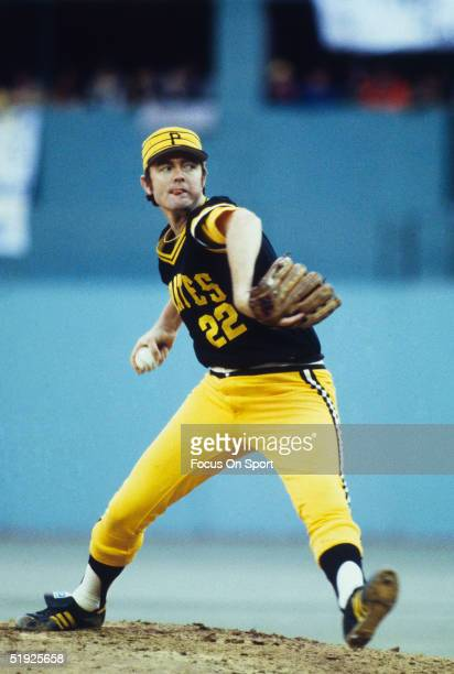 Pittsburgh Pirates' pitcher Bert Blyleven pitches against the Baltimore Orioles during the World Series at Three Rivers Stadium in October of 1979 in...