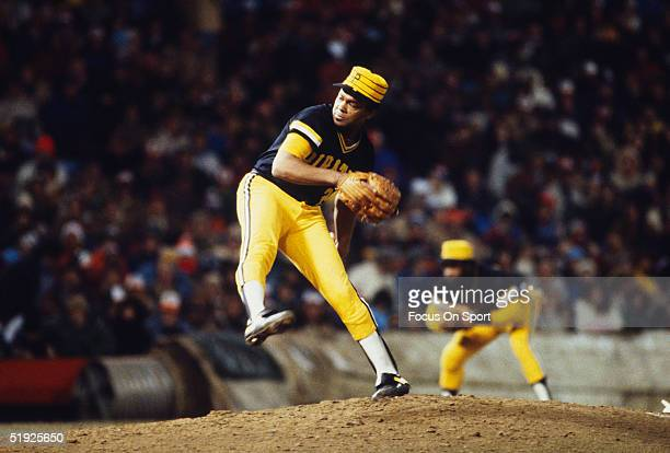 Pittsburgh Pirates' pitcher Grant Jackson pitches against the Baltimore Orioles during the World Series at Memorial Stadium in October of 1979 in...