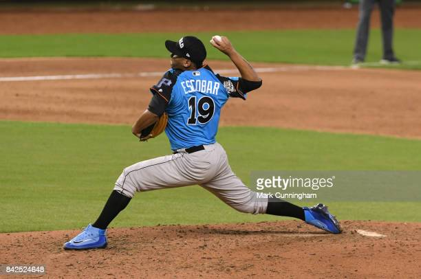Pittsburgh Pirates prospect Luis Escobar of the World Team pitches during the 2017 SiriusXM AllStar Futures Game at Marlins Park on July 9 2017 in...