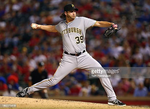 Pittsburgh Pirates relief pitcher Jason Grilli pitches against the Texas Rangers in the bottom of the eighth inning at Rangers Ballpark in Arlington...