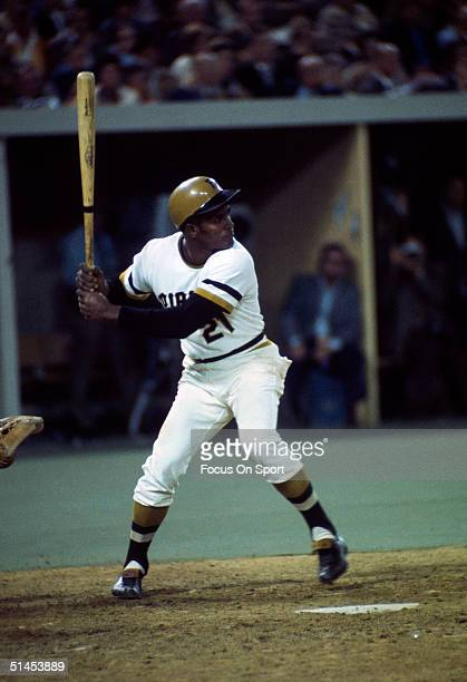 Pittsburgh Pirates' Roberto Clemente steps into the swing during the 1971 World Series against the Baltimore Orioles at Three Rivers Stadium in...