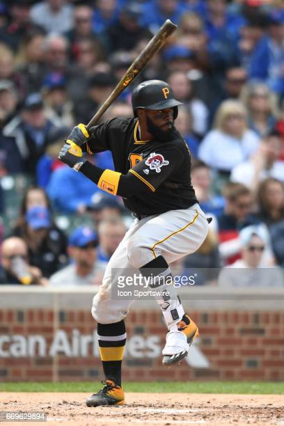 Pittsburgh Pirates second baseman Josh Harrison at bat during a game between the Pittsburgh Pirates and the Chicago Cubs on April 14 at Wrigley Field...