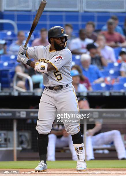 Pittsburgh Pirates second baseman Josh Harrison at bat during the first inning of the Major League Baseball game between the Miami Marlins and the...