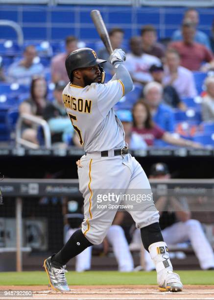 Pittsburgh Pirates second baseman Josh Harrison fu ball to center field for an out during the first inning of the Major League Baseball game between...