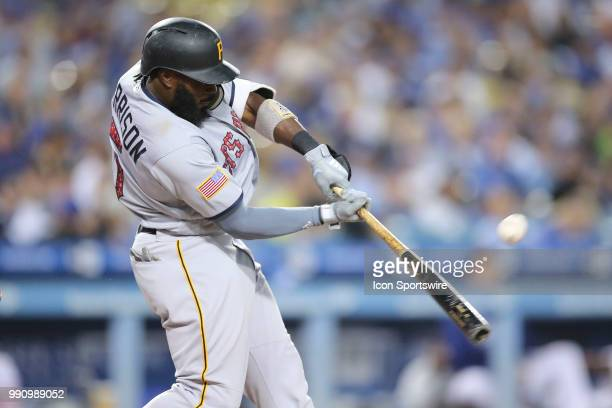 Pittsburgh Pirates second baseman Josh Harrison makes contact at the plate in the game between the Pittsburg Pirates and the Los Angeles Dodgers...
